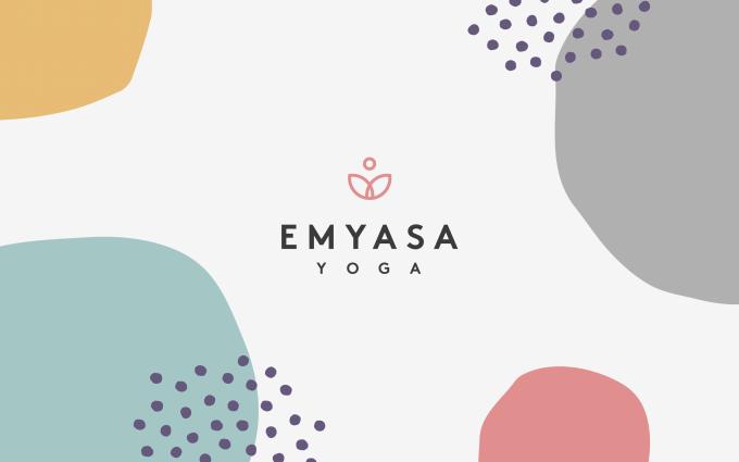 The emYasa Logo amongst colourful, loose, floating circular shapes