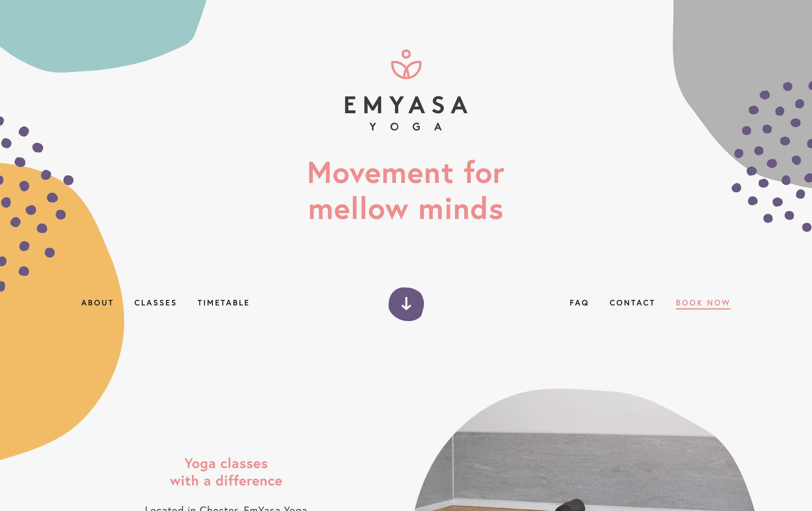 Screenshot of the top half of emyasayoga.co.uk